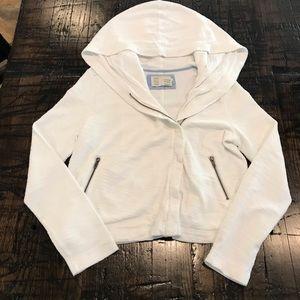 Anthropologie asymmetrical zip front Hooded jacket